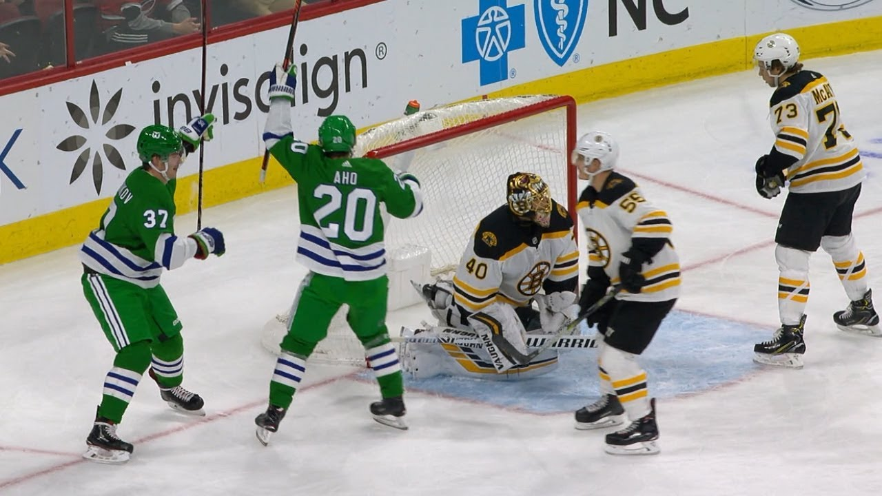 Brass Bonanza  rings out after Teravainen s goal on Whalers Night. NHL 434746669e7