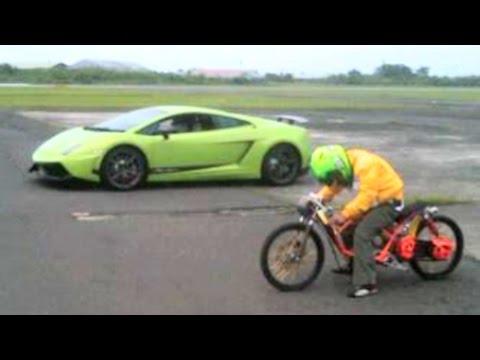 MOPED MIO vs LAMBORGHINI Drag Racing, Who will win?