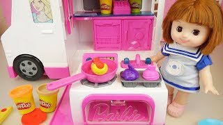 Baby doll food truck kitchen car toy and play doh cooking play