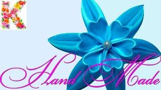 Цветы из атласных лент  в стиле канзаши.Канзши для начинающих.kanzashi flower tutorial