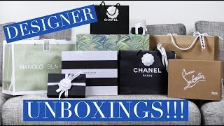 HUGE DESIGNER UNBOXING & TRY ON HAUL | CHANEL, Louboutins, Manolos & more!