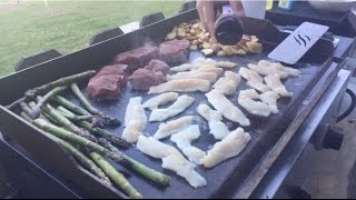 Grilling fish, steak and veggies using Team Catfish Seasoning!