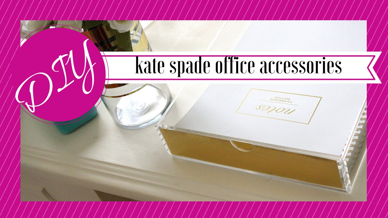 DIY | Kate Spade Inspired Desk Accessories   YouTube