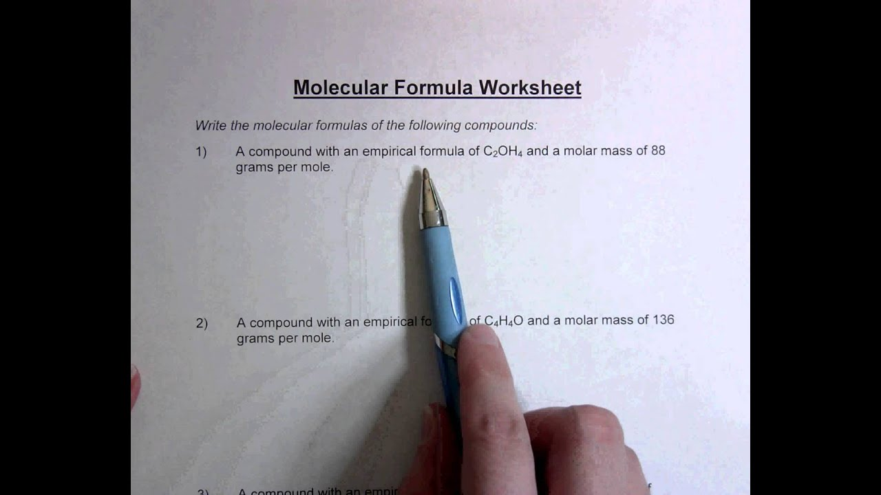Molecular Formula Worksheet Youtube
