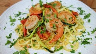 """""""Pasta"""" de Calabaza con Camarones - Dieta - (Zucchini Noodles) - Mi Cocina Rápida"""
