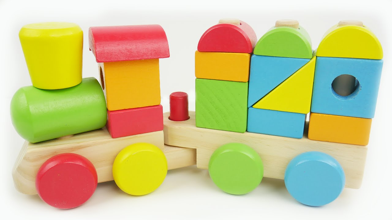 Learn colors, shapes, and counting with train preschool toy - YouTube