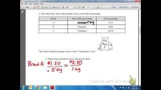 Common Core Math: Unit Rates Price per Kilogram