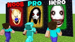 Minecraft Battle: NOOB vs PRO vs HEROBRINE: SCARY PORTALS CHALLENGE / Animation