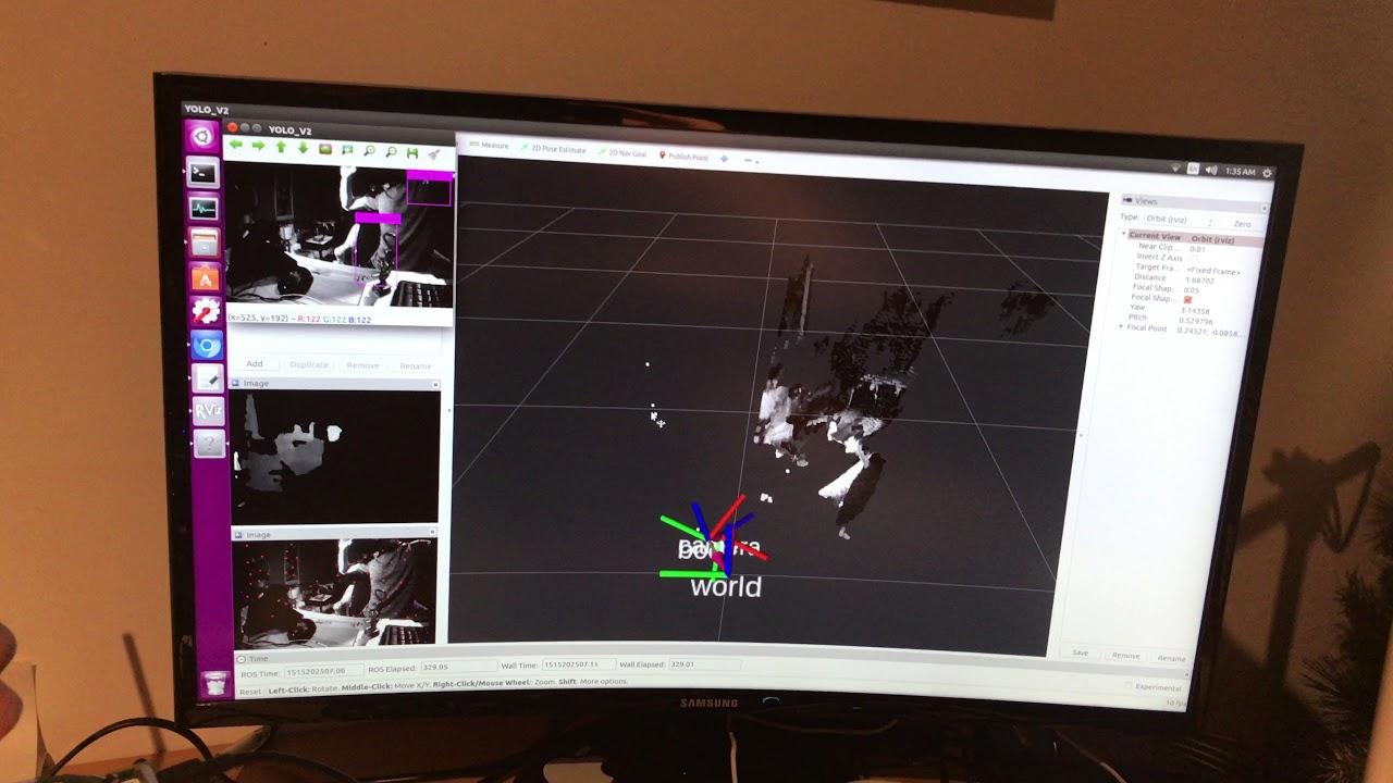 SLAM + stereo depth + deep learning object detection on Nvidia tx2