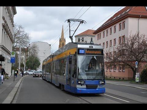Lvb Straßenbahn Leipzig Linie 12 Zum Johannisplatz Youtube