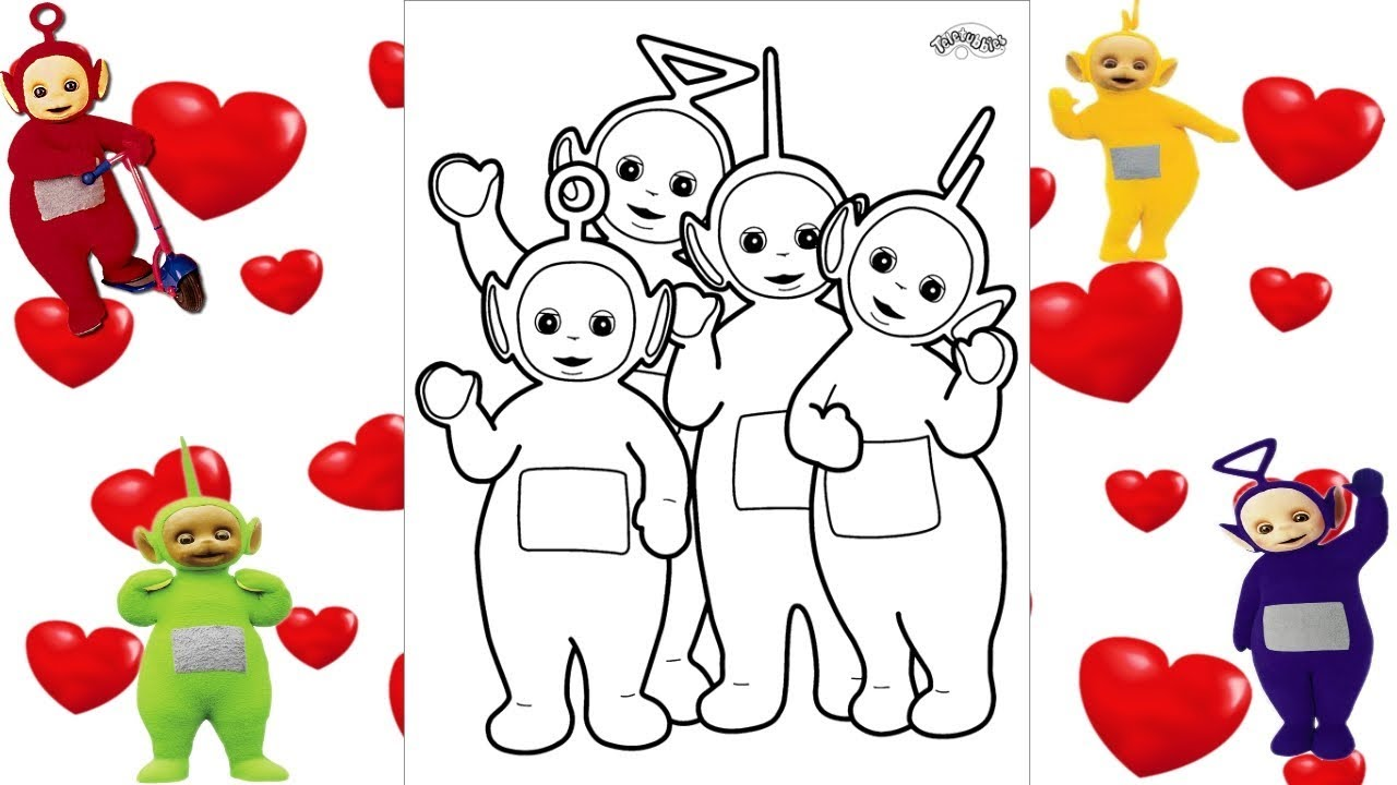 teletubbies coloring page glitter �� tinky winky dipsy
