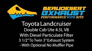 Beaudesert Exhaust's Toyota Landcruiser V8 Ute With DPF - Twin System With No Muffler Pipe