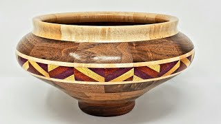 Woodturning a Potbelly Bowl with Chevron Feature Ring