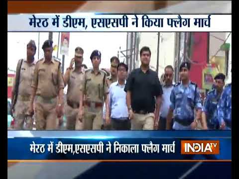 UP: Meerut SSP, district magistrate's 7km flag march for security after Dalit violence