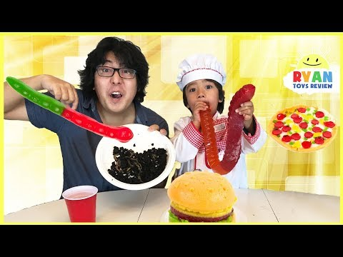 Gummy Food vs Real Food & Pizza Challenge + Family Fun Food Challenge Compilation Video