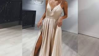 HONEY COUTURE RACHRAY BUSTIER POCKETS FORMAL GOWN