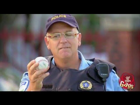 Cop Breaks Window With Baseball