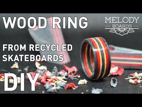 Wood ring from recycled skateboards DIY