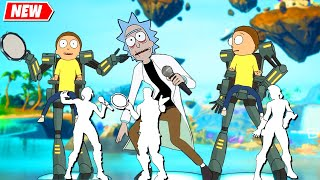 Fortnite MORTY and Evil RICK doing All Built In Emotes シ