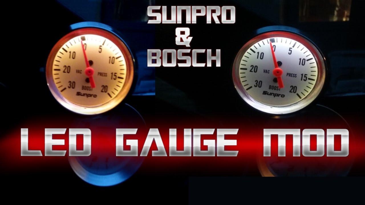Sunpro/Bosch Gauge LED Conversion - YouTube