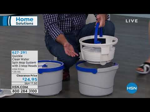 Quickie Clean Water Spin Mop System with 3 Mop Heads