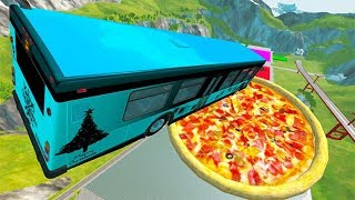 Car Jump Arena Jumping In Pizza & Pools Car Crashes #6 - BeamNG drive