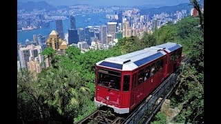 Riding the Peak Tram Hong Kong,