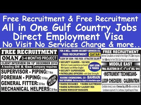 All in One 2019 Gulf Country Jobs l Gulf Country Free Recruitment Jobs l Direct Employment Visa