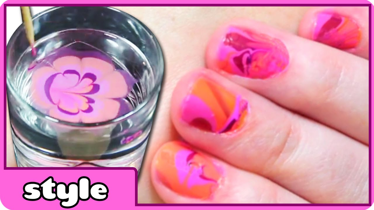 Water Marble Nail Art Design Retro Orange And Pink Colors Youtube