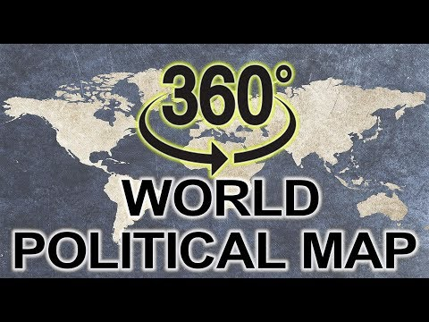 World Political Map 360 degree video   It can rotate