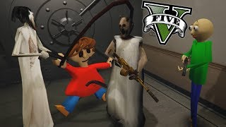 GRANNY, SLENDRINA Y BALDI ROBAN EL BANCO !! (GTA 5 Mods)