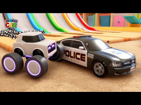 Learn the car name! | The police car comes out of the magic slide! nursery rhyme Tomoncar World