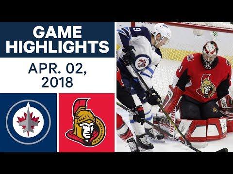 NHL Game Highlights | Jets vs. Senators - Apr. 02, 2018