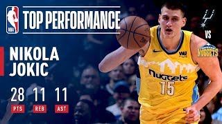 Nikola Jokic Gets His 6th Triple-Double of the Season vs. the Spurs | February 23, 2018