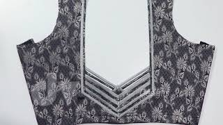 Back neck blouse design in designer cloth | Cotton and stitching | Dv designs