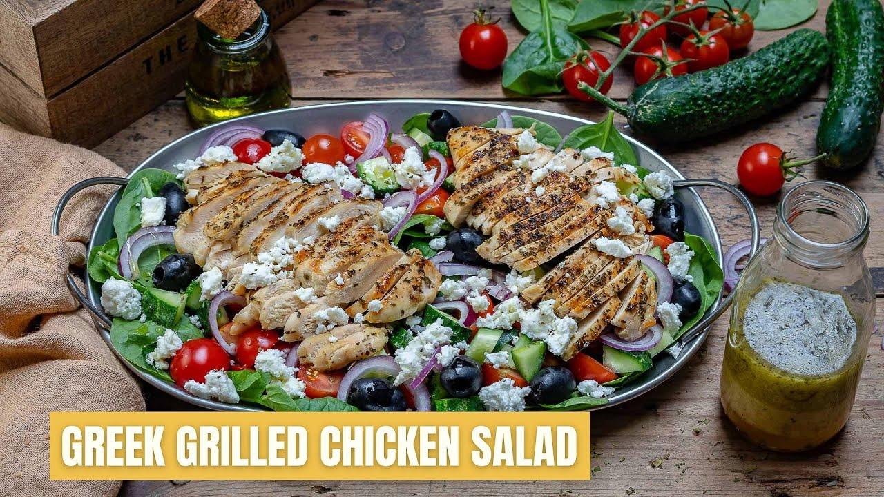 Healthy Grilled Chicken Salad Recipe Greek Style Blondelish Com
