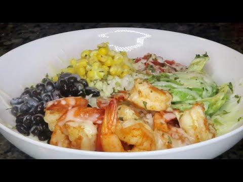 Easy Shrimp Burrito Bowl with Cilantro Lime Dressing