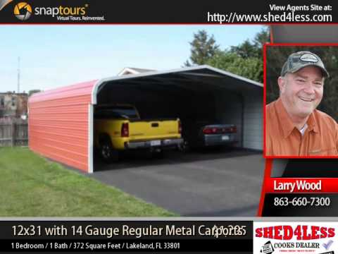 Shed4less 12x31 with 14 gauge regular metal carport youtube for Sheds 4 less