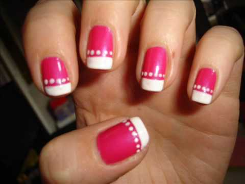 hot pink tip nails - photo #36