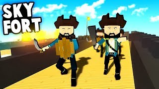 Defending the SKY FORTRESS!  Fort Defense vs PIRATES! (Paint the Town Red Best User Created Levels)