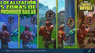 ⛏ LOCALIZACIÓN 5 ZONAS DE BAILE PROHIBIDO | FORTNITE BATTLE ROYALE