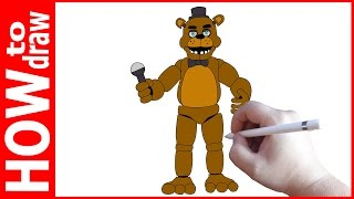 How to draw Freddy, FNAF, Как нарисовать Фредди