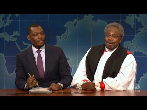 Prince Harry and Bishop Michael Curry spoofed on Saturday Night Live