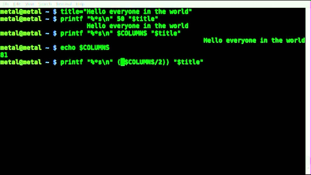 Center Text In Your Terminal With Printf