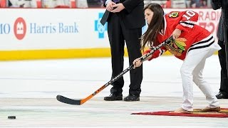 Nascar's Danica Patrick takes her shot on net at the Chicago Blackhawks game