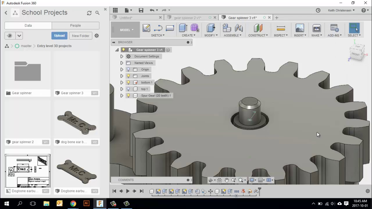 Fusion 360 Multiple Components Gear Spinner Part 2