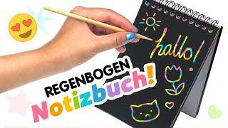 Einfaches DIY REGENBOGEN Notizbuch basteln 🌈 Kalender Versteckte Farbexplosion 😳 Deutsch