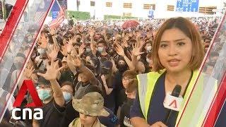 Hong Kong protests: Thousands rally at US consulate