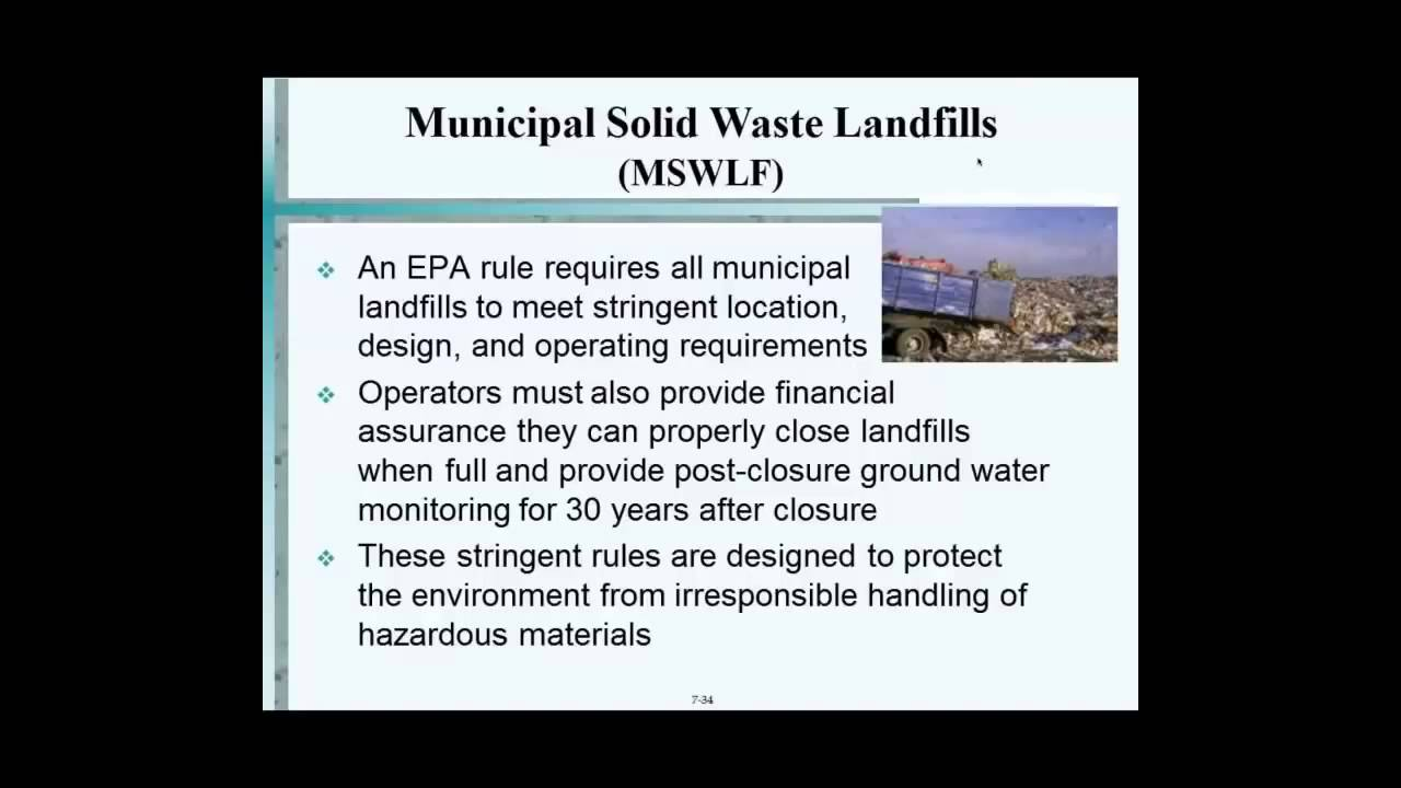 Municipal Solid Waste Landfills Youtube