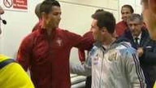 el saludo entre messi y cristiano ronaldo   argentina vs portugal partido amistoso